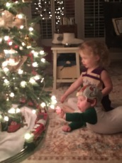 Addy and Ben fascinated with the lights