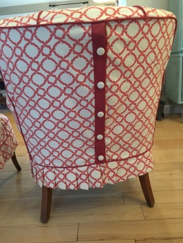 slipcovered chairs with button closure