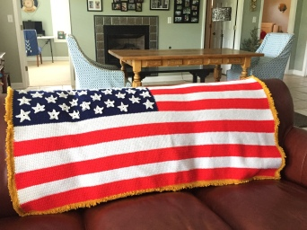 Flag afghan made by mother-in-law