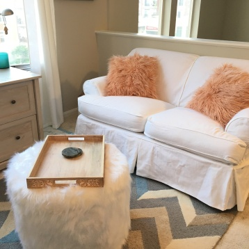 loveseat slipcover white denim