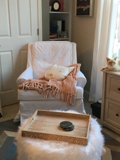rocker chair slipcover white denim
