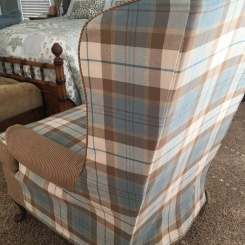 2 fabric wing back slipcovers