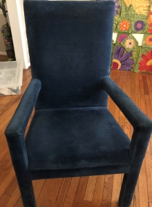 "Blue velvet ""free"" chair"
