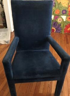 """Blue velvet """"free"""" chair"""